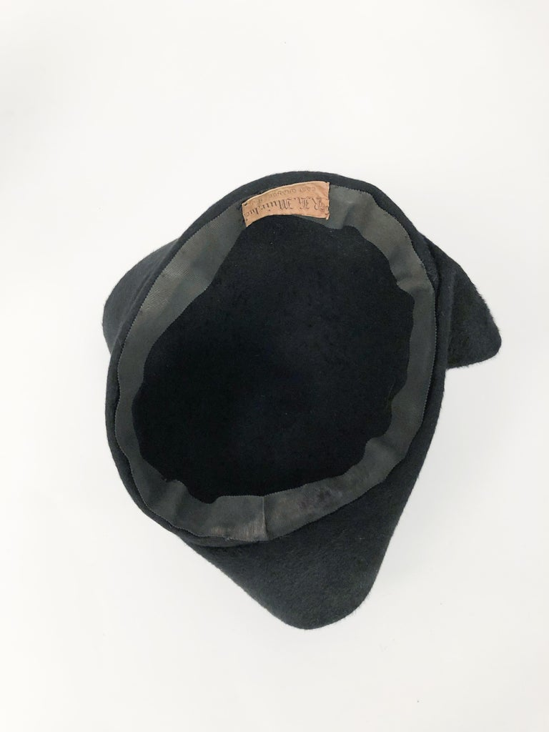1930s Black Cashmere Felt Pirate Hat with Sterling Silver Accent For Sale 3