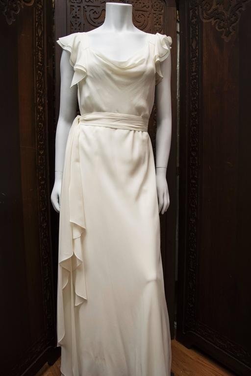 1930's Ivory Silk Chiffon Grecian Dress For Sale 5