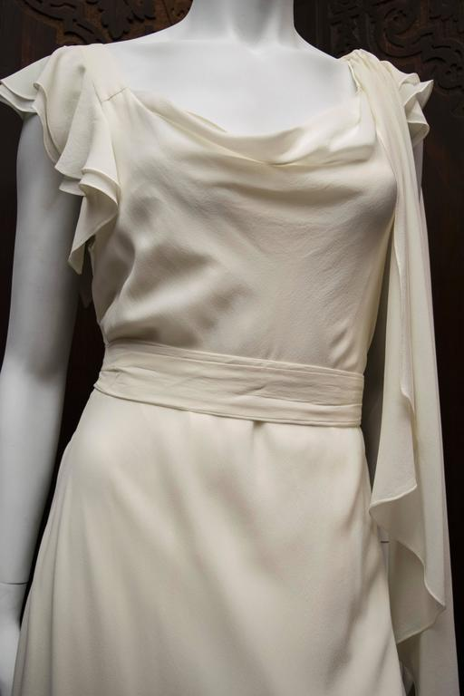 1930's Ivory Silk Chiffon Grecian Dress In Good Condition For Sale In San Francisco, CA