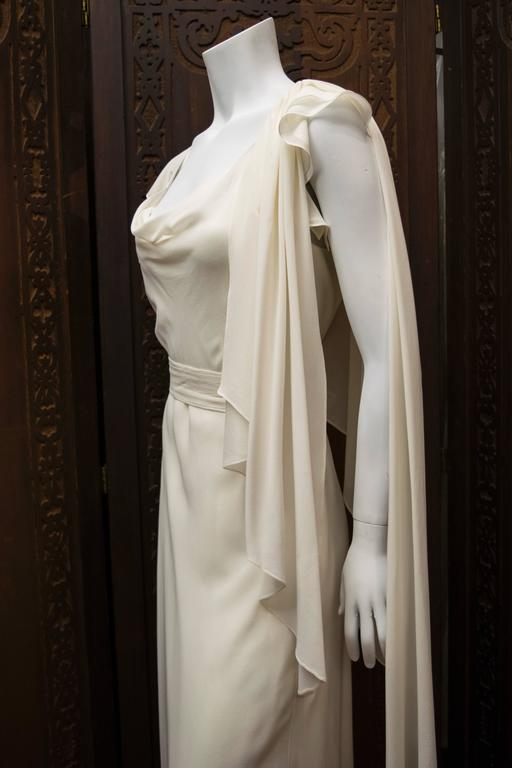 Women's 1930's Ivory Silk Chiffon Grecian Dress For Sale