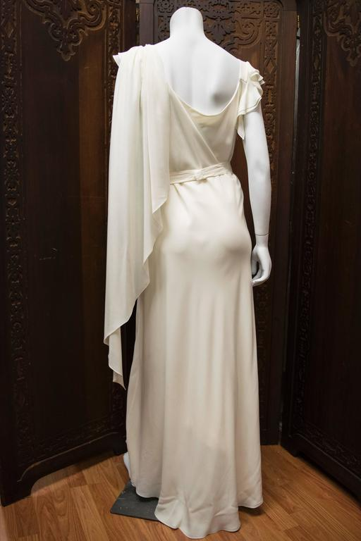 1930's Ivory Silk Chiffon Grecian Dress For Sale 1