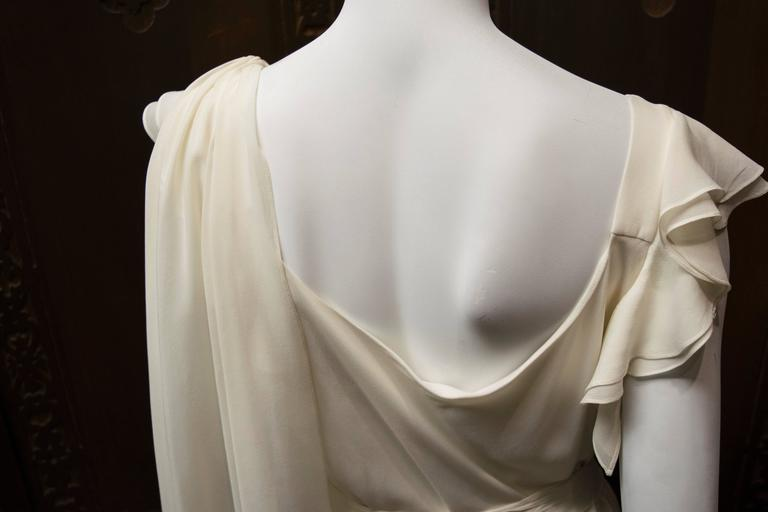 1930's Ivory Silk Chiffon Grecian Dress For Sale 2