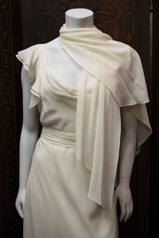 1930's Ivory Silk Chiffon Grecian Dress For Sale 4