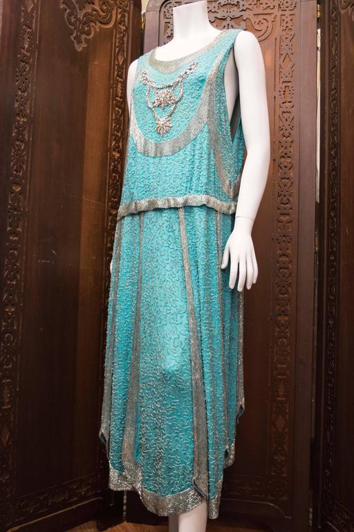1920s Beaded Aqua Flapper Dress At 1stdibs