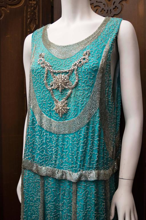 1920s Beaded Aqua Flapper Dress.