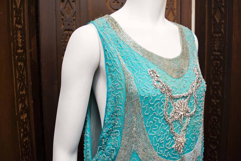 1920s Beaded Aqua Flapper Dress 3