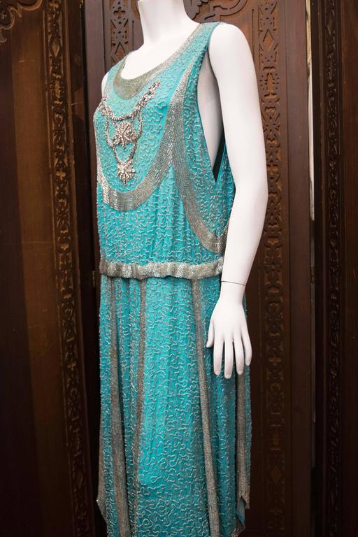 1920s Beaded Aqua Flapper Dress In Good Condition For Sale In San Francisco, CA