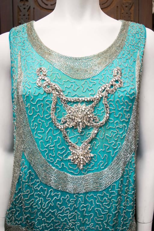 1920s Beaded Aqua Flapper Dress 5