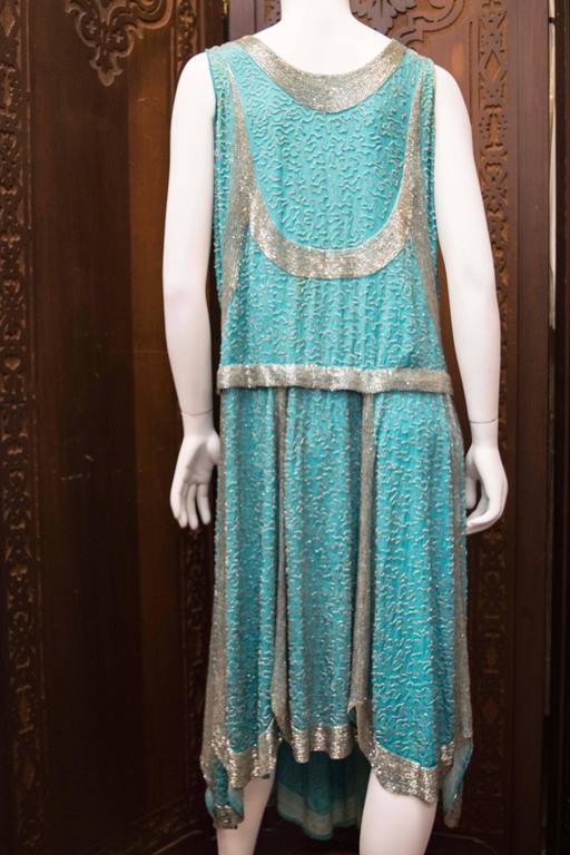 1920s Beaded Aqua Flapper Dress 6
