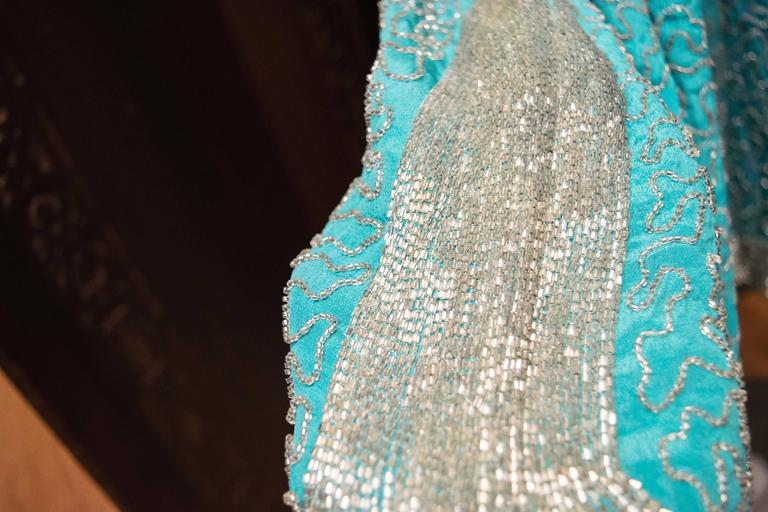 1920s Beaded Aqua Flapper Dress 7