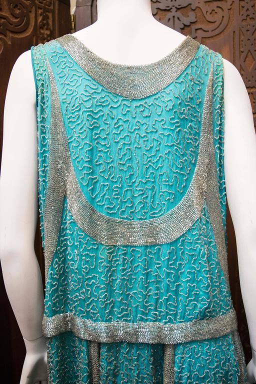 1920s Beaded Aqua Flapper Dress 8