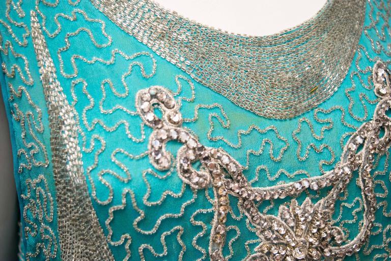 1920s Beaded Aqua Flapper Dress 9