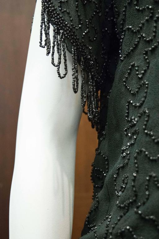 1920s Black Beaded Flapper Dress 6