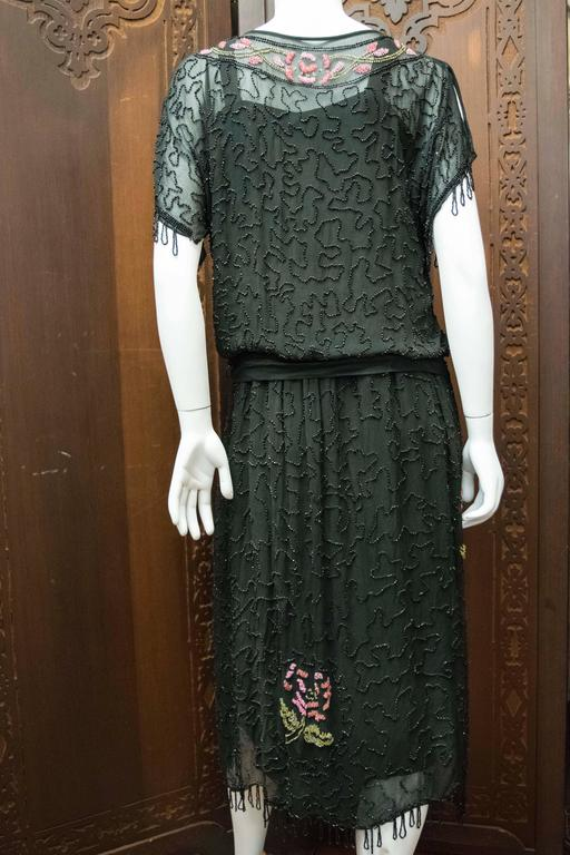 1920s Black Beaded Flapper Dress 7