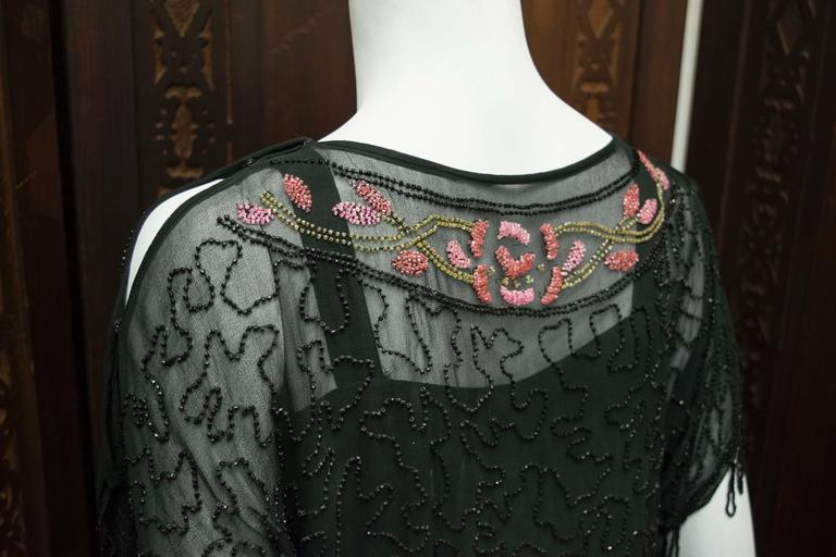 1920s Black Beaded Flapper Dress 8