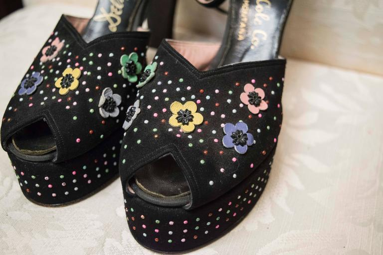 1940s Beaded Platform Shoes For Sale 1