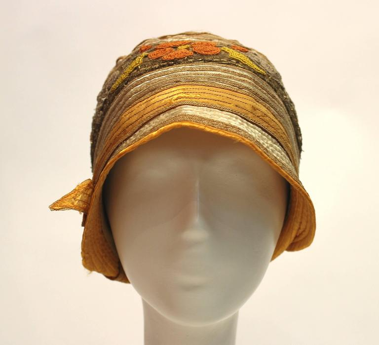Brown 1920s Cloche Hat For Sale