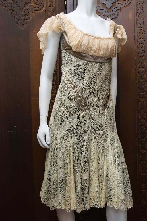 Women's 2002 Alexander McQueen 'Milkmaid' Corset Cocktail Dress For Sale