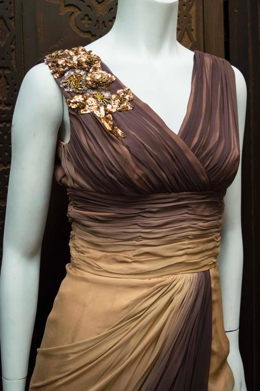 Brown 1950s Ombre Evening Dress For Sale