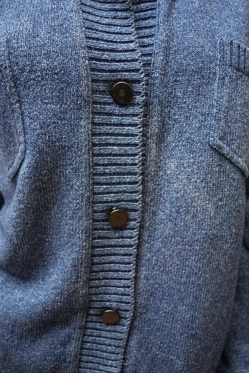 Chanel Blue Knit Cardigan  In Good Condition For Sale In San Francisco, CA
