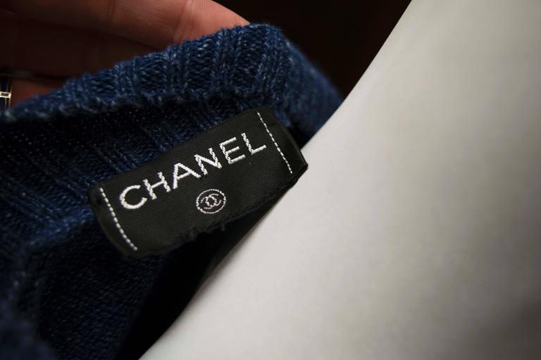 Chanel Blue Knit Cardigan  For Sale 1
