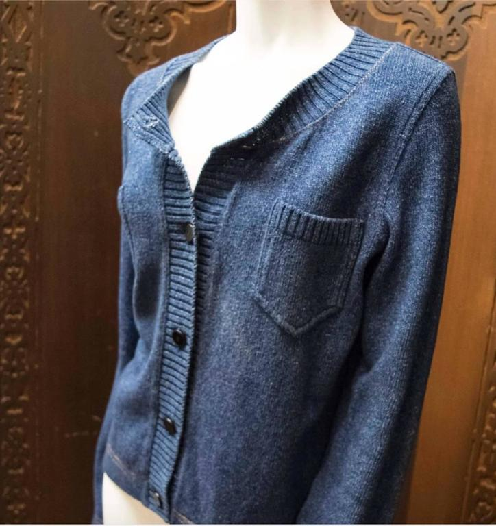Purple Chanel Blue Knit Cardigan  For Sale