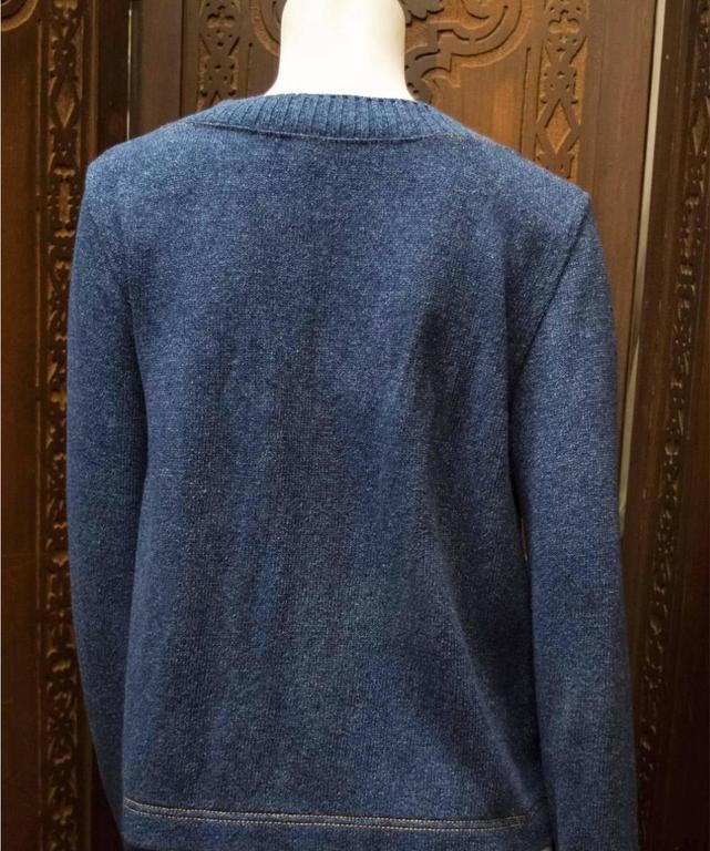 Women's Chanel Blue Knit Cardigan  For Sale