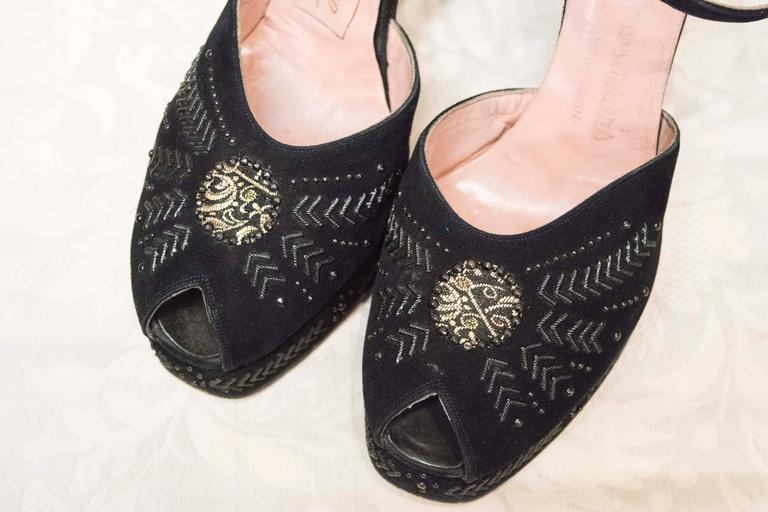 1940s Black Suede and Silver Detailed Platform Shoes 5