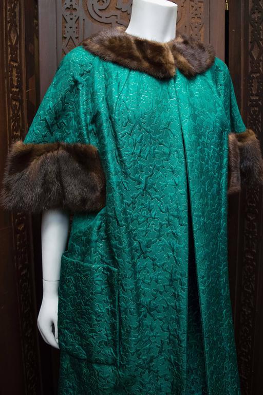 1960s Green Brocade Dress and Coat. at 1stdibs