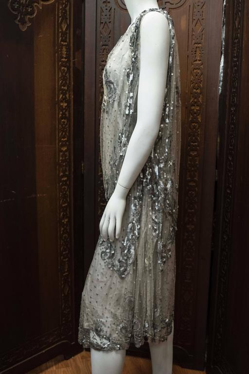 1920s Silver Lace Sequinned Dress For Sale 3