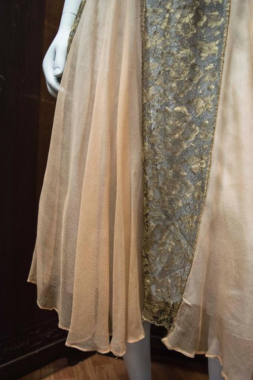 1920s Lace And Silk Georgette Dress For Sale At 1stdibs