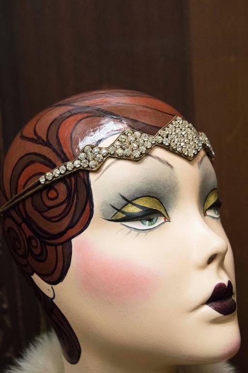 Beige 1920s Swarovski Crystal Headband   For Sale