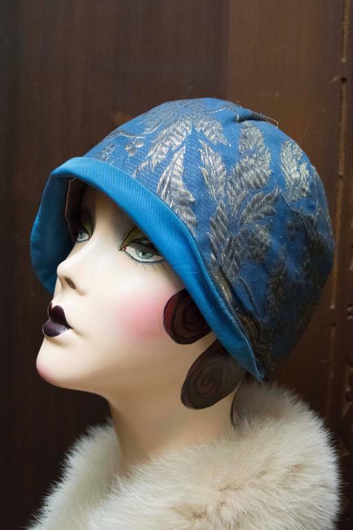 Gray 1920s Blue Cloche Hat For Sale