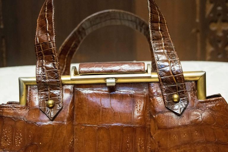 1940s Art Deco Aligator Handbag At 1stdibs