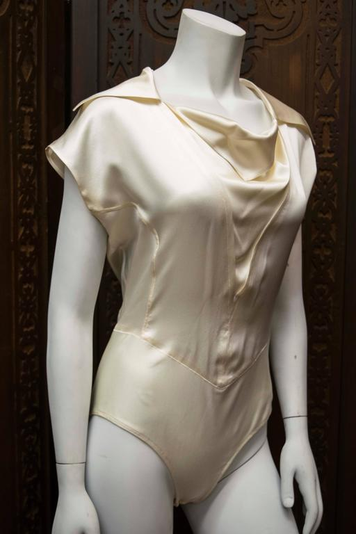 1990s Karl Lagerfeld Ivory Silk Blouse 