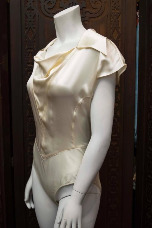 Brown 1990s Karl Lagerfeld Ivory Silk Blouse  For Sale
