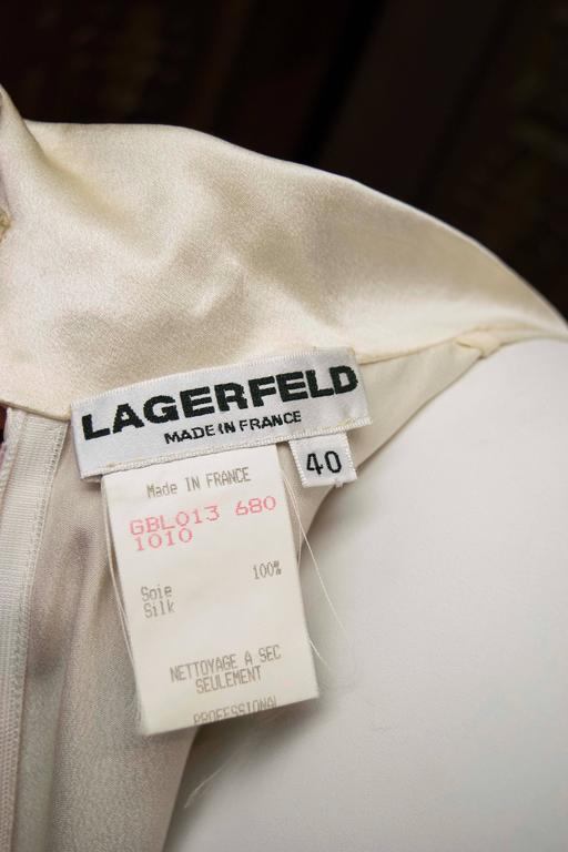 1990s Karl Lagerfeld Ivory Silk Blouse  For Sale 1