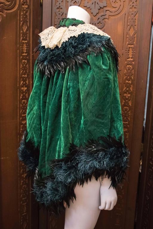 Green Velvet Victorian Cape For Sale 1