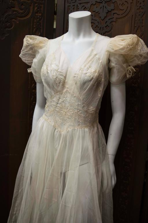 1930s Sheer Ivory Wedding Dress 2