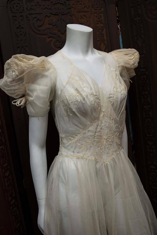 1930s Sheer Ivory Wedding Dress 3