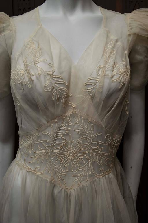 1930s Sheer Ivory Wedding Dress 4