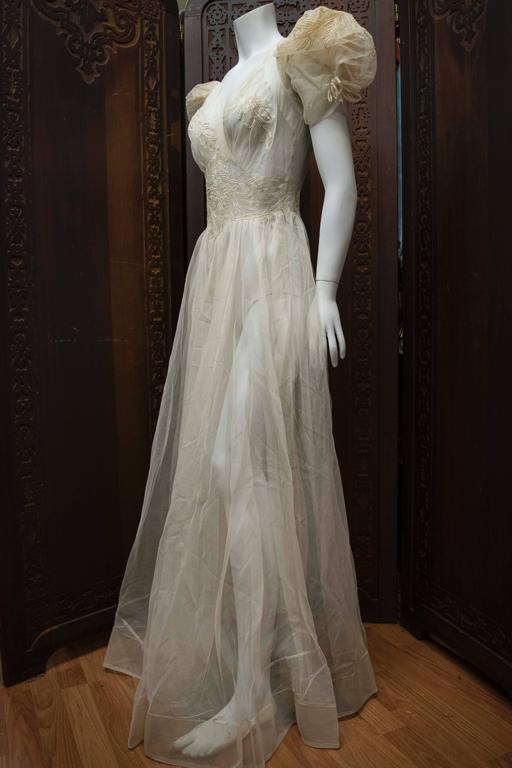 1930s Sheer Ivory Wedding Dress 5