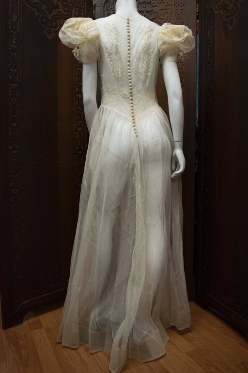 1930s Sheer Ivory Wedding Dress 6