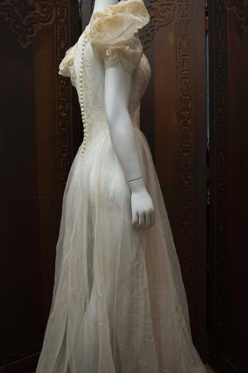 1930s Sheer Ivory Wedding Dress 7