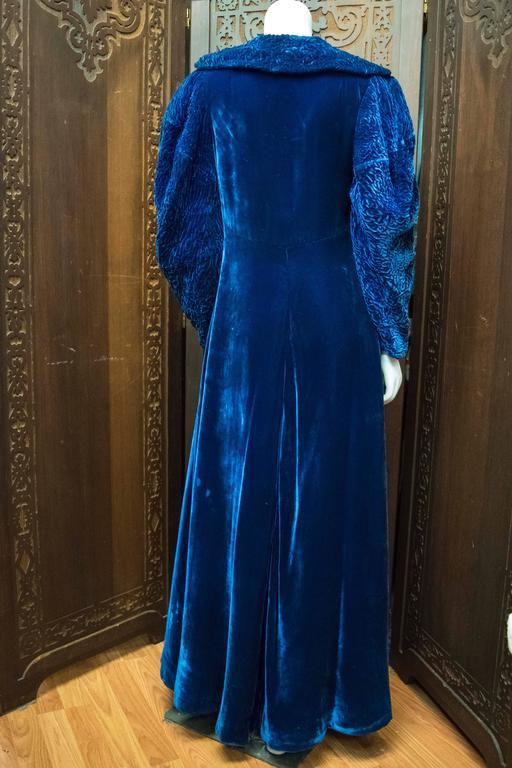 1930s Blue Velvet Opera Coat 2