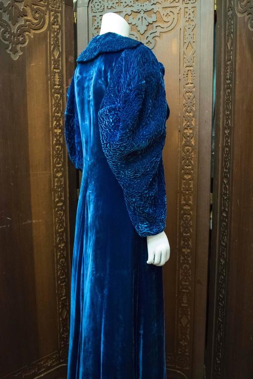 1930s Blue Velvet Opera Coat 5