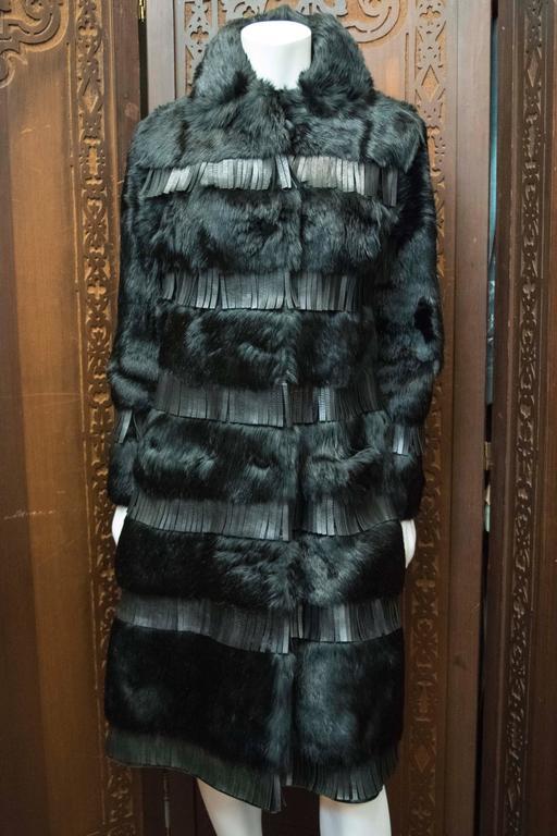 1970s Lilli Ann Paris Fringed and Rabbit Fur Coat 3