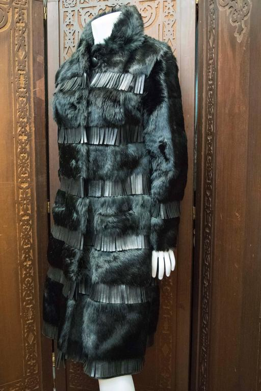 1970s Lilli Ann Paris Fringed and Rabbit Fur Coat 4