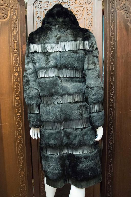1970s Lilli Ann Paris Fringed and Rabbit Fur Coat 6