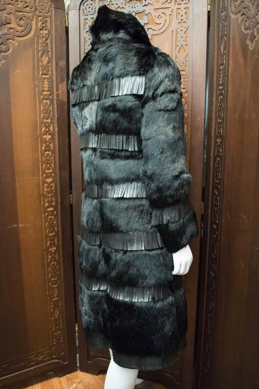 1970s Lilli Ann Paris Fringed and Rabbit Fur Coat 8